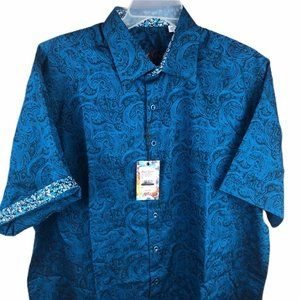 New! Robert Graham Button Up Shirt Blue XL Short